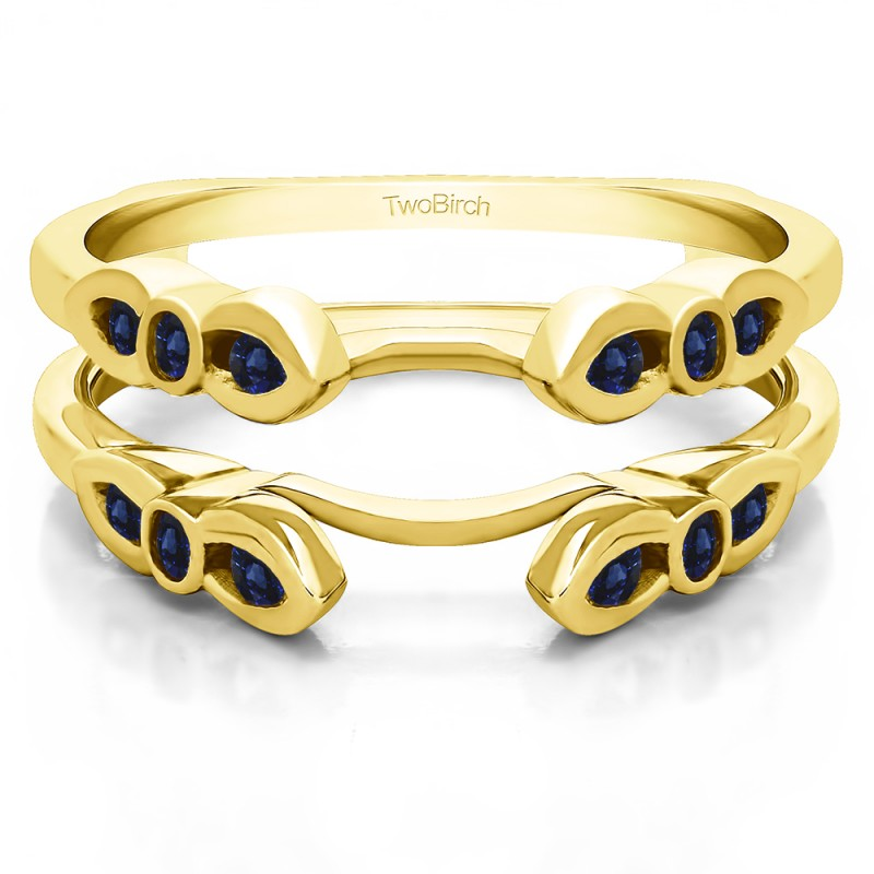 Twobirch Ring Guards 0 08 Ct Sapphire Bezel Cathedral Wedding