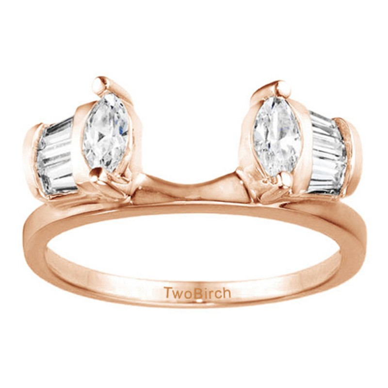 Twobirch Ring Wrap 0 33 Ct Tapered Baguette And Marquise Ring Wrap Enhancer In Rose Gold