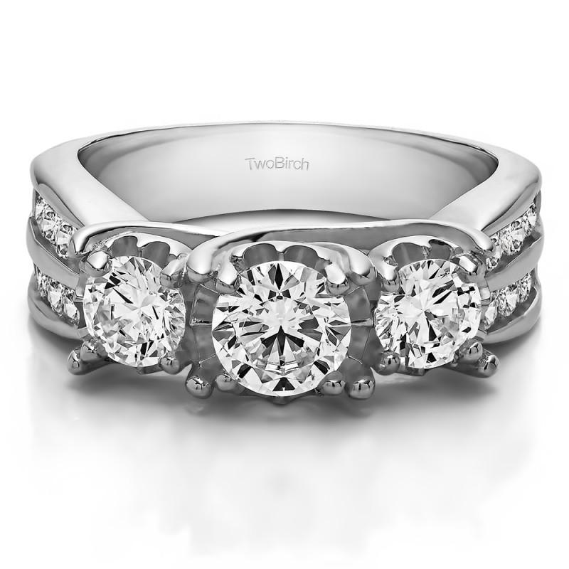 Twobirch Wedding Ring 2 01 Carat Three Stone Shared Prong