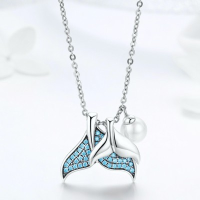 TwoBirch 925 Sterling Silver Mermaid Necklace with Blue Cubic Zirconia and Pearl with Chain