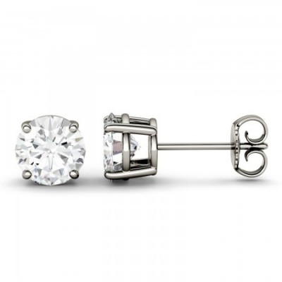Round Brilliant Moissanite Stud Earrings in 14k White Gold (1/3 CT up to 2 1/2 CT)
