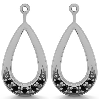 0.1 Carat Black Round Pave Chandelier Earring Jacket