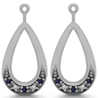 0.1 Carat Sapphire and Diamond Round Pave Chandelier Earring Jacket