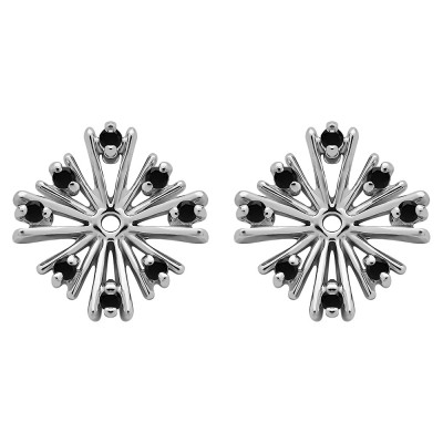 0.16 Carat Black Round Prong Starburst Inspired Earring Jacket