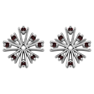 0.16 Carat Ruby Round Prong Starburst Inspired Earring Jacket