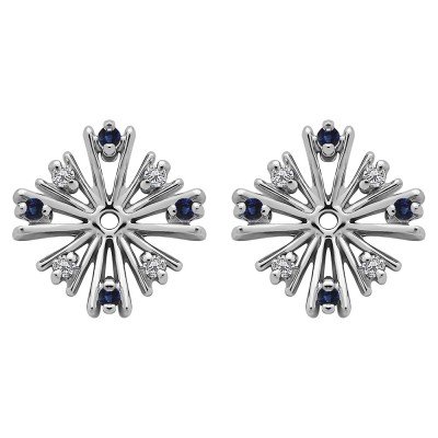 0.16 Carat Sapphire and Diamond Round Prong Starburst Inspired Earring Jacket