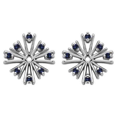 0.16 Carat Sapphire Round Prong Starburst Inspired Earring Jacket