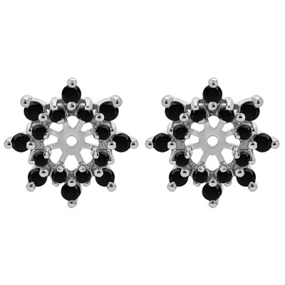 0.48 Carat Black Round Prong Cluster Halo Earring Jacket
