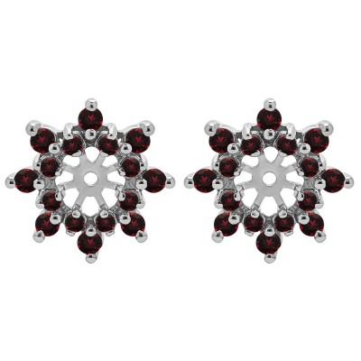 0.48 Carat Ruby Round Prong Cluster Halo Earring Jacket