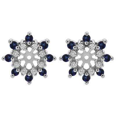 0.48 Carat Sapphire and Diamond Round Prong Cluster Halo Earring Jacket