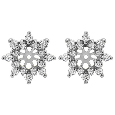 0.48 Carat Round Prong Cluster Halo Earring Jacket