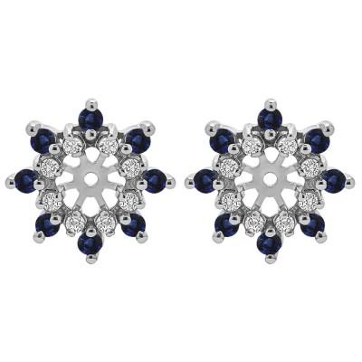 0.96 Carat Sapphire and Diamond Round Double Row Halo Earring Jacket