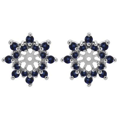 0.96 Carat Sapphire Round Double Row Halo Earring Jacket