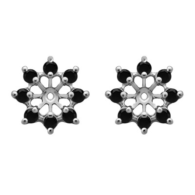 0.32 Carat Black Round Shared Prong Halo Earring Jacket