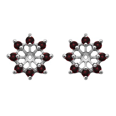 0.32 Carat Ruby Round Shared Prong Halo Earring Jacket