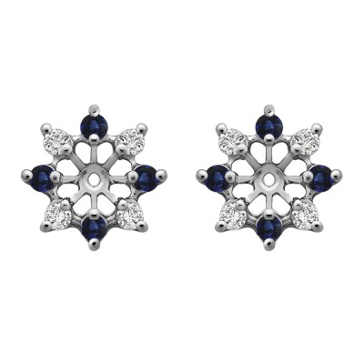 0.32 Carat Sapphire and Diamond Round Shared Prong Halo Earring Jacket