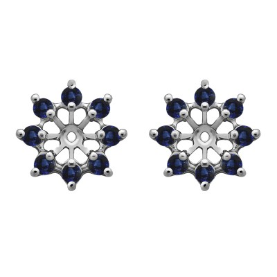 0.32 Carat Sapphire Round Shared Prong Halo Earring Jacket