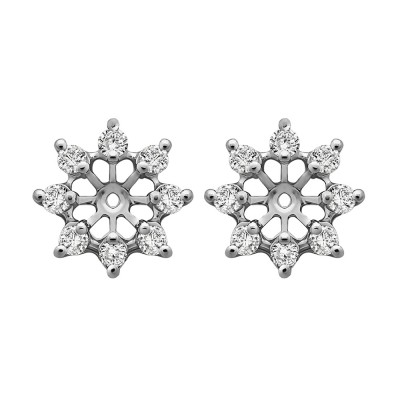 0.32 Carat Round Shared Prong Halo Earring Jacket