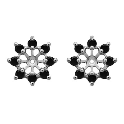 0.96 Carat Black Round Shared Prong Halo Earring Jacket