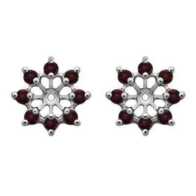 0.96 Carat Ruby Round Shared Prong Halo Earring Jacket