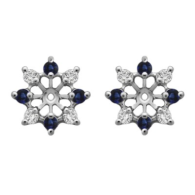 0.96 Carat Sapphire and Diamond Round Shared Prong Halo Earring Jacket