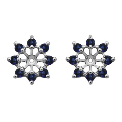 0.96 Carat Sapphire Round Shared Prong Halo Earring Jacket