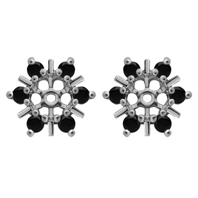 0.48 Carat Black Round Bar and Prong Halo Earring Jackets