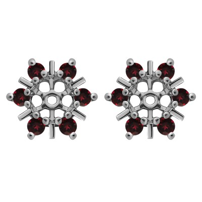 0.48 Carat Ruby Round Bar and Prong Halo Earring Jackets