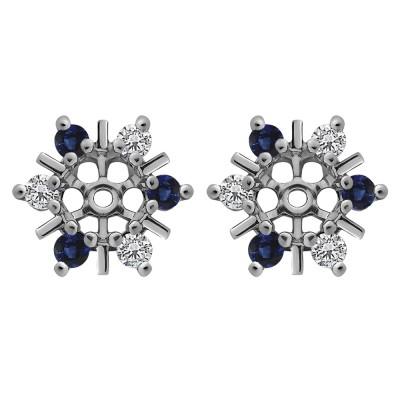 0.48 Carat Sapphire and Diamond Round Bar and Prong Halo Earring Jackets