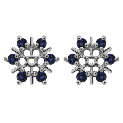 0.48 Carat Sapphire Round Bar and Prong Halo Earring Jackets
