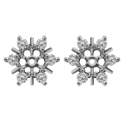 0.48 Carat Round Bar and Prong Halo Earring Jackets