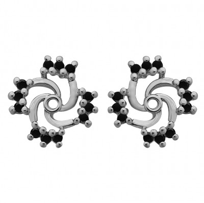 0.24 Carat Black Round Shared Prong Swirl Earring Jacket