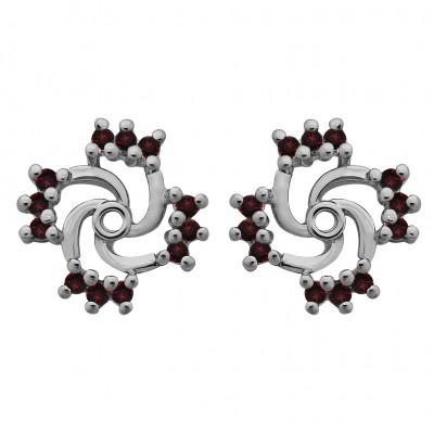 0.24 Carat Ruby Round Shared Prong Swirl Earring Jacket