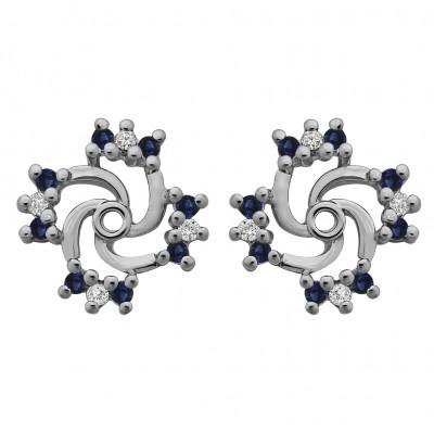 0.24 Carat Sapphire and Diamond Round Shared Prong Swirl Earring Jacket