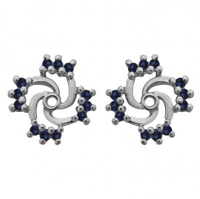0.24 Carat Sapphire Round Shared Prong Swirl Earring Jacket