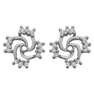 0.24 Carat Round Shared Prong Swirl Earring Jacket