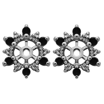 0.24 Carat Black Round Shared Prong Halo Earring Jacket