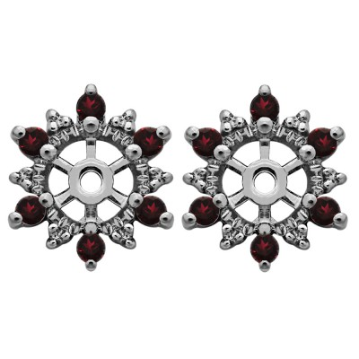 0.24 Carat Ruby Round Shared Prong Halo Earring Jacket