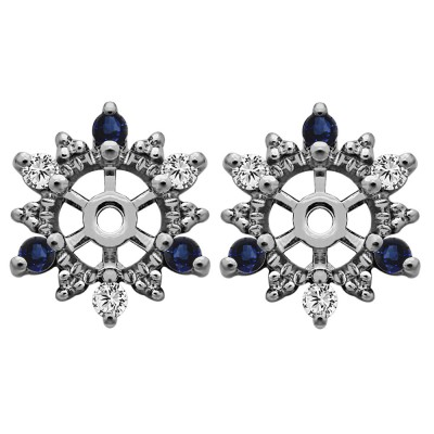 0.24 Carat Sapphire and Diamond Round Shared Prong Halo Earring Jacket