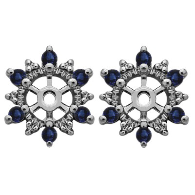 0.24 Carat Sapphire Round Shared Prong Halo Earring Jacket