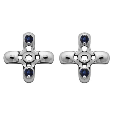 0.06 Carat Sapphire Cross Shaped Earring Jackets