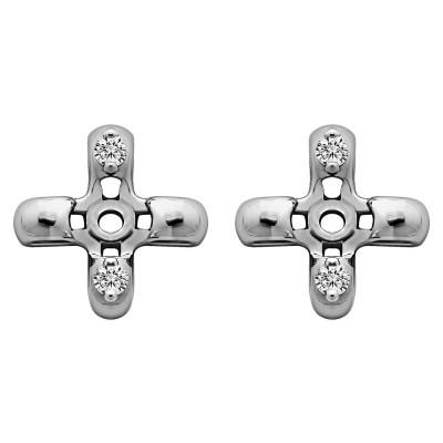 0.06 Carat Cross Shaped Earring Jackets