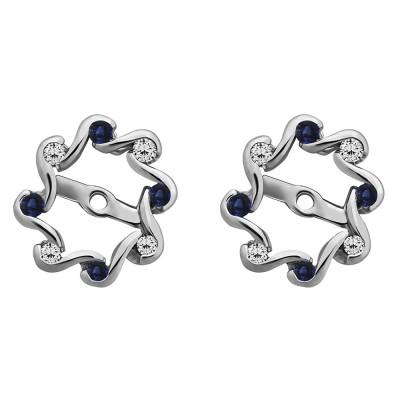 0.24 Carat Sapphire and Diamond Halo Infinity Earring Jackets