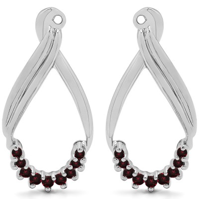 0.21 Carat Ruby Round Shared Prong Chandalier Earring Jackets