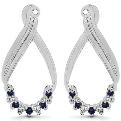 0.21 Carat Sapphire and Diamond Round Shared Prong Chandalier Earring Jackets