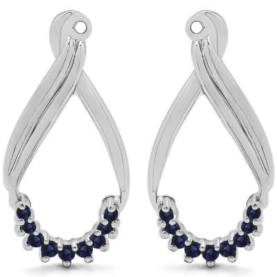 0.21 Carat Sapphire Round Shared Prong Chandalier Earring Jackets