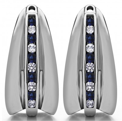 0.315 Carat Sapphire and Diamond Large Round Channel Set Chandelier Earring Jacket