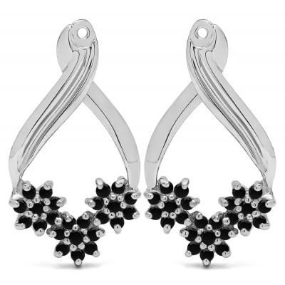 0.54 Carat Black Triple Flower Cluster Earring Jackets