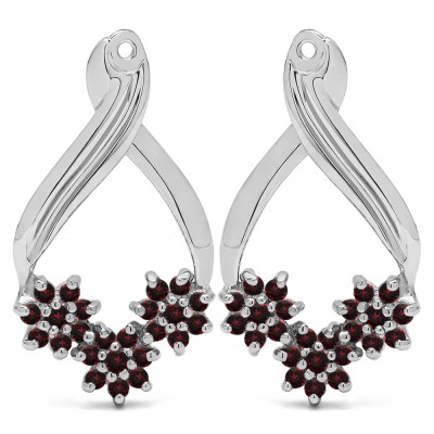 0.54 Carat Ruby Triple Flower Cluster Earring Jackets