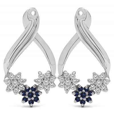 0.54 Carat Sapphire and Diamond Triple Flower Cluster Earring Jackets